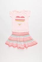 POP CANDY - 2 pack tee skirt set - pink & green