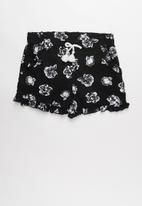 POP CANDY - Girls flouncing rayon shorts - black & white