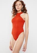 Missguided - Racer neck knitted bodysuit - orange