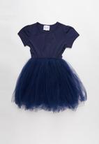 POP CANDY - Mesh combo dress - navy