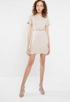 Missguided - Ribbed belted short sleeve mini dress - beige
