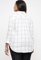 edit - Checked shirt with roll-up sleeve detail - white
