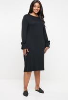 edit Plus - Tie sleeve dress - black
