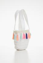 POP CANDY - Straw tote bag with tassel detail - white