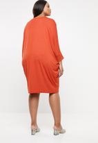 edit Plus - Cuffed easy fit dress - orange