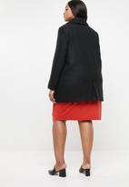 edit Plus - Textured long length coat - black