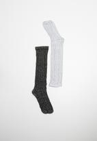 MINOTI - 2 pack knee high cable socks - grey & black
