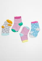 MINOTI - 4 Pack stripe character ankle socks - multi
