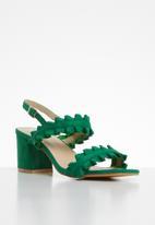STYLE REPUBLIC - Slingback frill block heels - green
