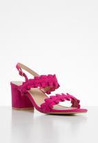 STYLE REPUBLIC - Slingback frill block heels - pink