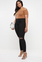 Missguided - Bardot zip front bodysuit - brown