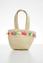 POP CANDY - Straw tote bag with tassel detail - neutral