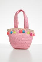 POP CANDY - Straw tote bag with tassel detail - pink