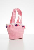 POP CANDY - Straw tote bag with pom-pom detail - pink