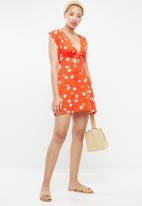 Supré  - Sunset tie front dress - orange & white