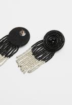 Superbalist - Curtain fall beaded earrings - black & silver