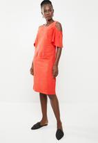edit - Cold shoulder linen blend dress - orange