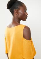 edit - Cold shoulder linen blend dress - yellow