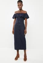 edit - Bardot linen blend dress - navy