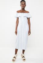 edit - Bardot linen blend dress - blue & white
