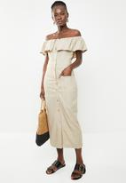 edit - Bardot linen blend dress - beige