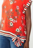 edit - V-neck side tie blouse - multi