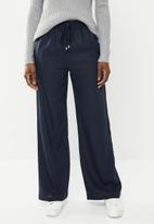 edit - Linen blend pants with drawcord - navy
