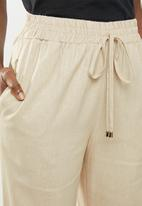 edit - Linen blend pants with drawcord - beige