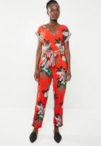 edit - Short sleeve jumpsuit with tie - multi