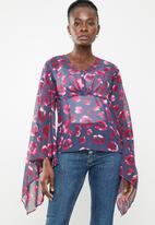 edit - V-neck batwing blouse - multi