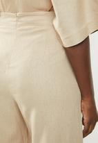 edit - Linen blend wide leg pants - beige