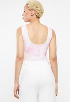 Missguided - Tie dye scoop neck bodysuit - pink & white