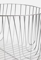 Present Time - Lines basket single - metal chrome