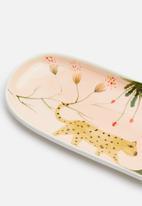 Urchin Art - Oblong tiger trinket tray - multi