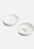 Urchin Art - Gold trinket bowls set of 2 - white & gold