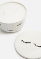 Urchin Art - Lashes candle canister - white & black