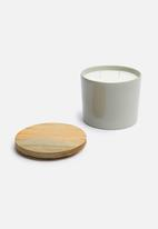 Urchin Art - Wooden lid candle canister - grey
