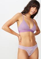 Cotton On - Sophia lace  g-string brief - purple