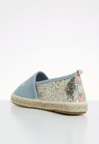ONLY - Eva embroidery glitter espadrilles - blue & silver