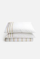 Sheraton - Sierra embroidered duvet cover set - white & mustard