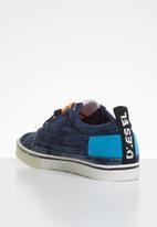 Diesel  - D-velows low patch - indigo & light blue fluo