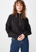 Cotton On - Prue half zip fleece crew  - black