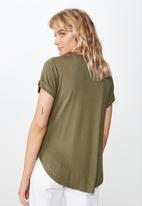 Cotton On - Karly short sleeve v neck top  - green