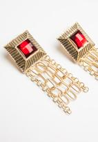 Superbalist - Multi chain statement earrings - gold & red