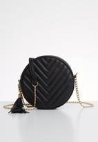 Superbalist - Round quilted detail bag - black & gold