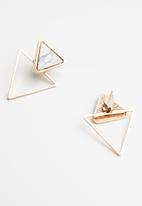Superbalist - Triangle marbled earrings - white
