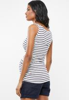 Cherry Melon - Tank top with side detail - white & navy
