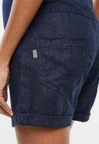 Cherry Melon - Linen shorts with turnup - navy