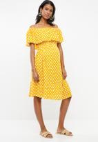 edit Maternity - Bardot frill dress - yellow & white