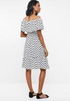 edit Maternity - Bardot frill dress - white & black